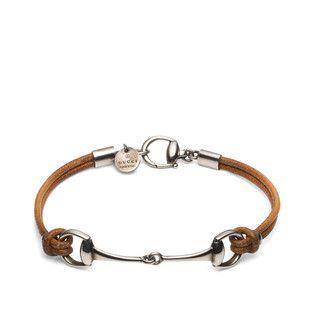 Leather bracelet with horsebit