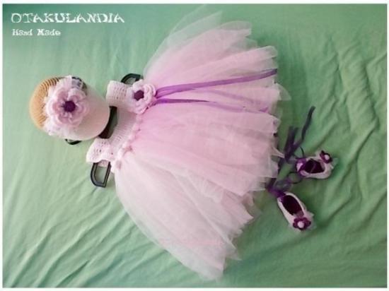 Conjunto Vestido Tul y Crochet Mod. Primavera Rosa - T3 meses - EXCLUSIVO de Otakulandia