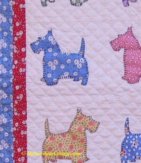 Close-up of Little Scotties baby quilt.
