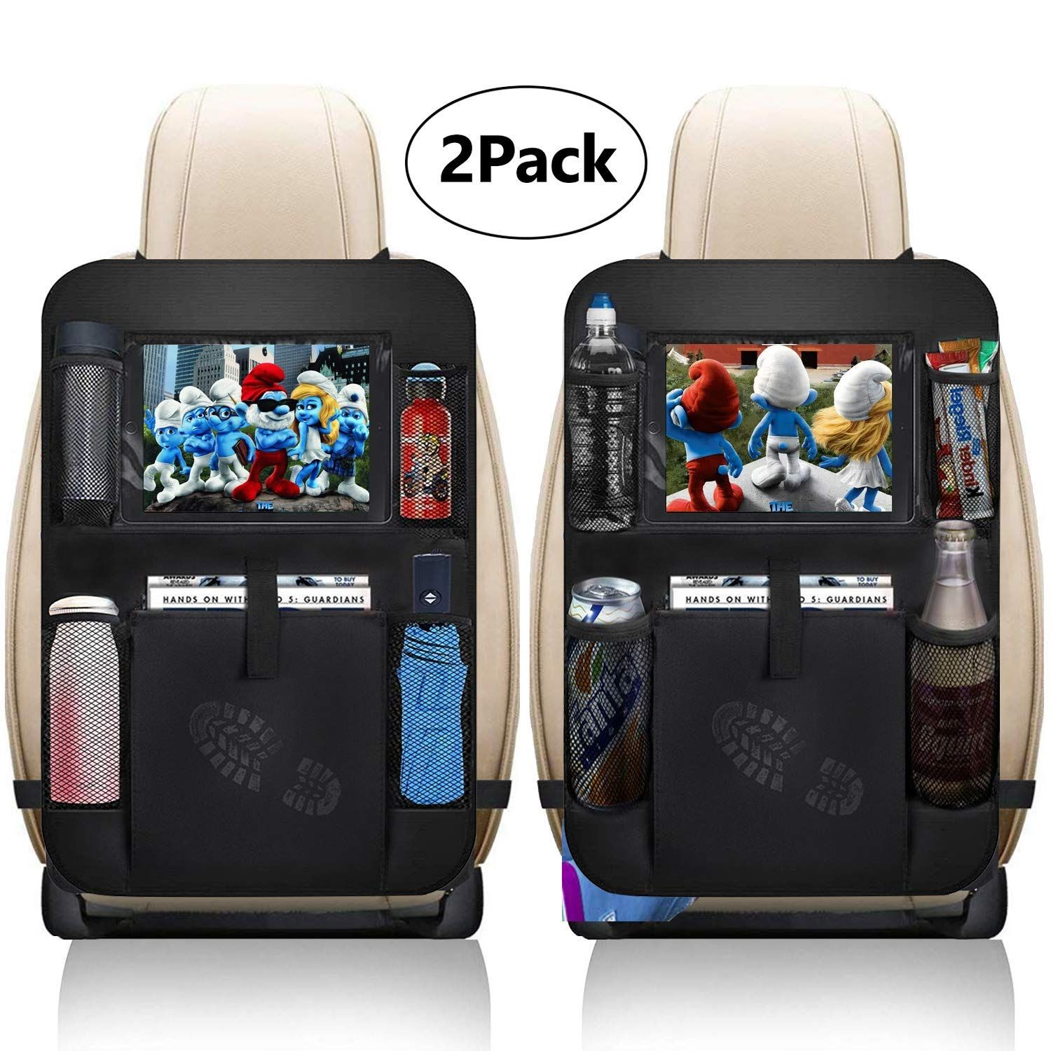 Car Back Seat Organiser Tablet Kids Tidy Bottle Kick Mat iPad Holder Protector