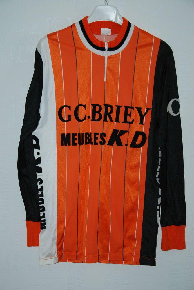 Vintage Les Tricots D Achille Cleder Mens Long Jersey Orange Black