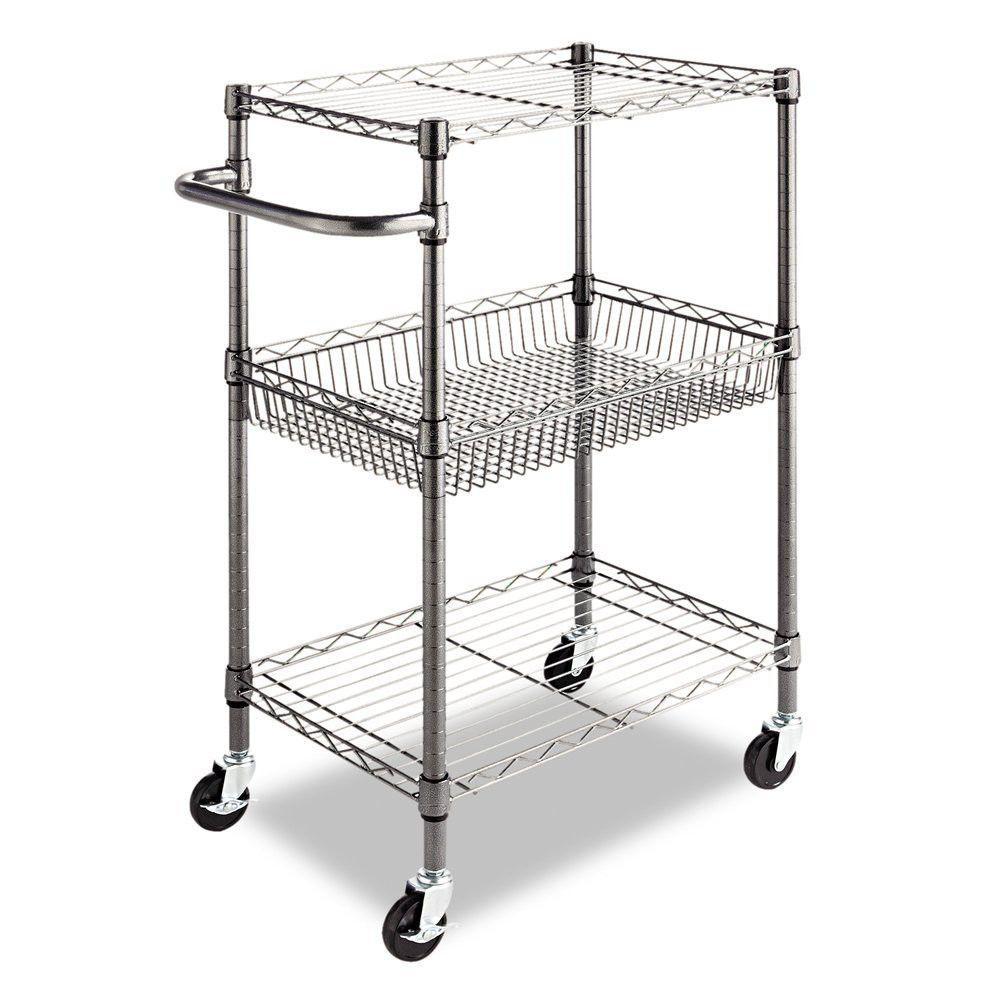 Rolling Utility Cart Wire Storage Shelves Basket Garage Kitchen Restaurant  New #Alera