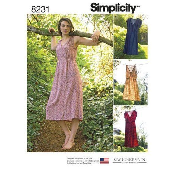 Misses' Boho Dress in Two Lengths - V-Neckline, Pullover Summer Dress - Simplicity Sewing Pattern 8231