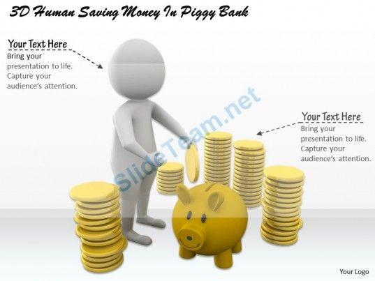1113 3D Human Saving Money in Piggy Bank Ppt Graphics Icons ...