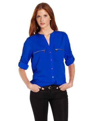 4f9c6602 Calvin Klein Women's Modern Essential Zipper Button Front Blouse,Celestial,X-Small  Calvin