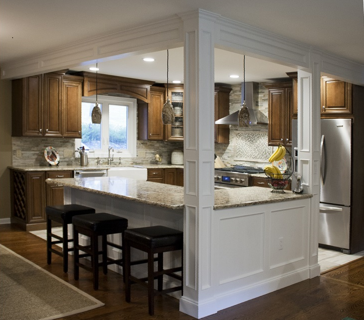 Galley Kitchen With Half Wall: Took Down 2 Walls To Open This Kitchen To The Dining And