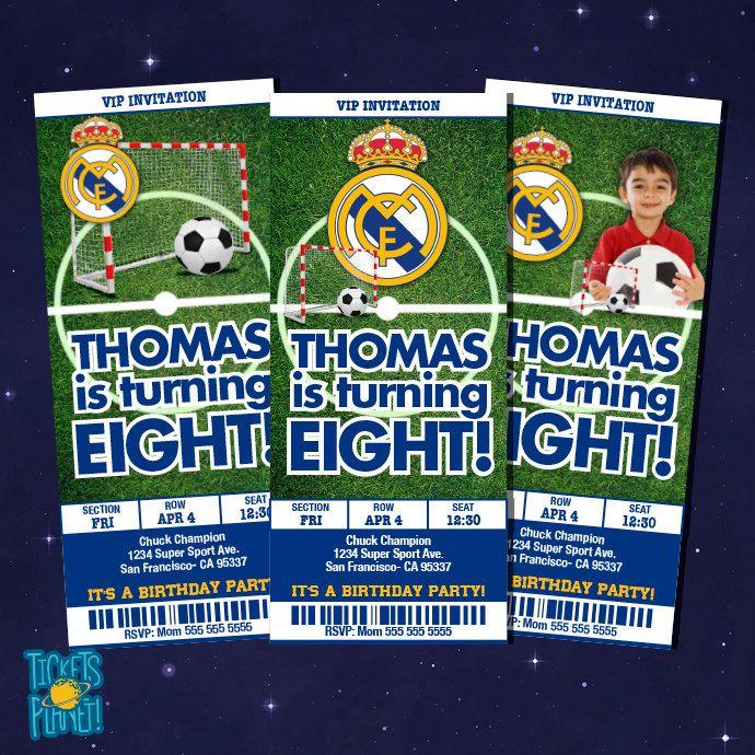 Soccer Real Madrid Birthday Invitation Card Real By Ticketsplanet 10 00 Birthday Invitations Soccer Party Sports Ticket Invitation