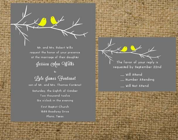 Printable Love Birds Branch Wedding Invitation Set Suite Rsvp Card Gray Grey Yellow All Colors