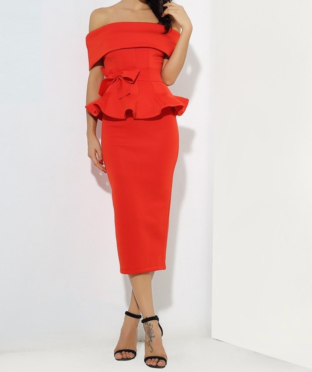 Red off shoulder peplum bodycon two pieces bow belt sets dress