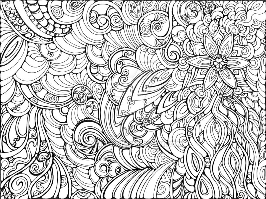 let it flow by artwyrd abstract doodle zentangle coloring pages colouring adult detailed advanced printable kleuren - Zentangle Coloring Pages
