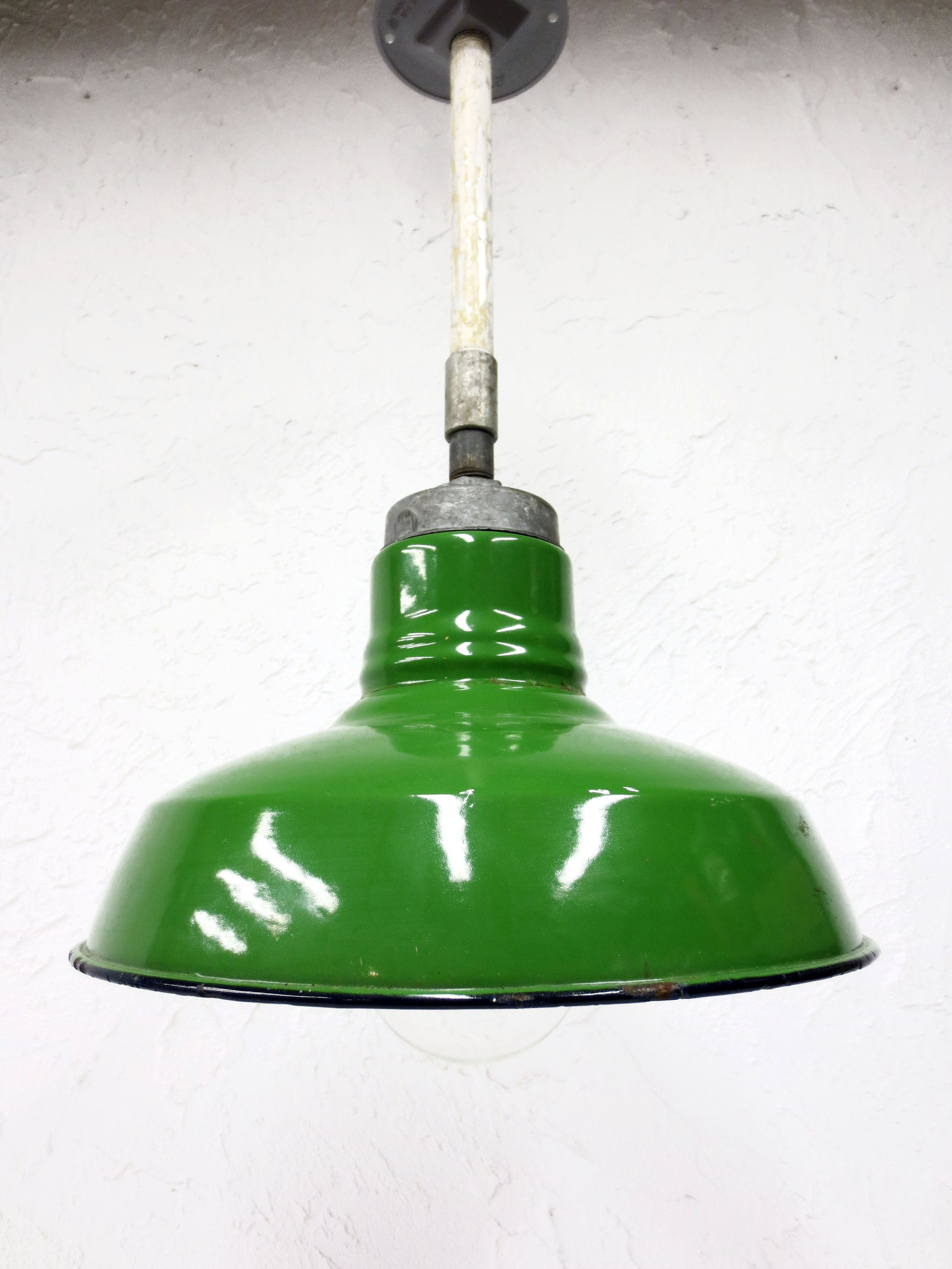 Vintage Wheeler Porcelain Enamel Light Shade Fixture 12 Dia