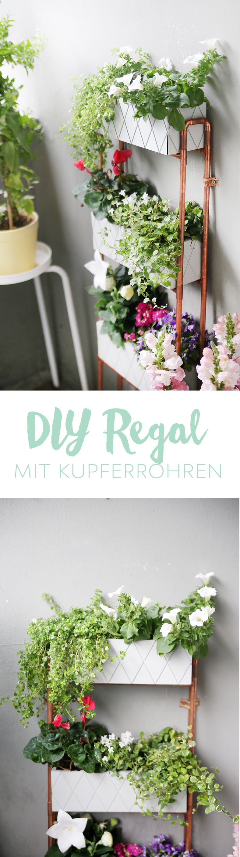 diy f r kleine balkons pflanzregal aus kupferrohren selbstgemacht kupferrohr diy ideen und. Black Bedroom Furniture Sets. Home Design Ideas