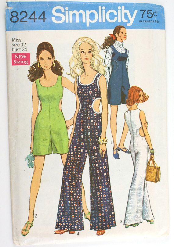 Simplicity 8244 Misses 1960s Jumpsuit Pattern By Vtgsewingpatterns