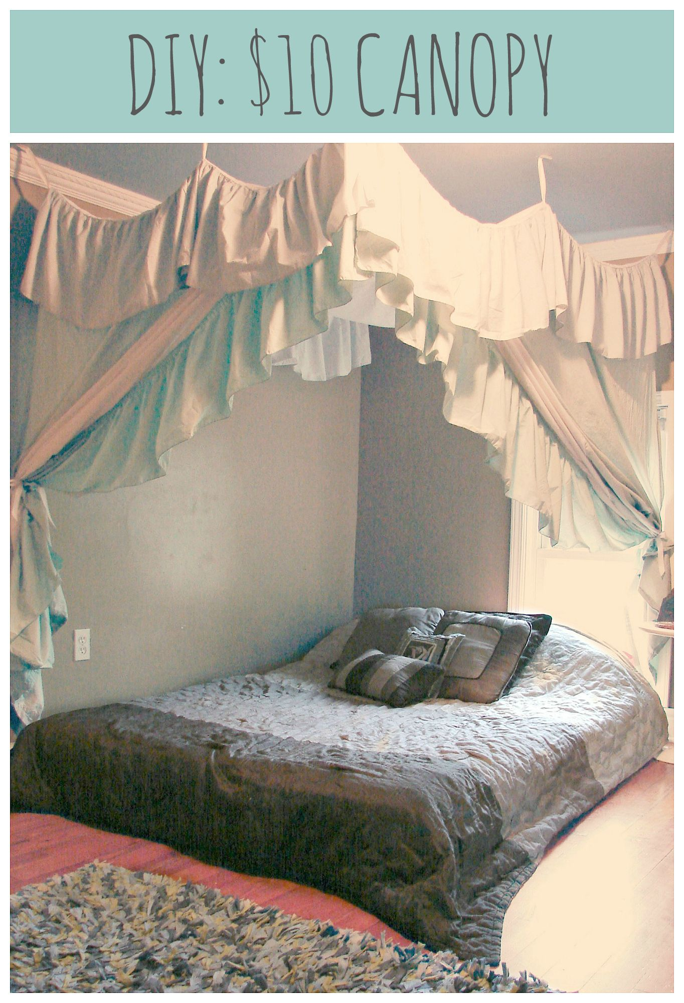 diy: $10, 1 hour canopy: 2 bed sheets, 2 bed skirts, a spool of
