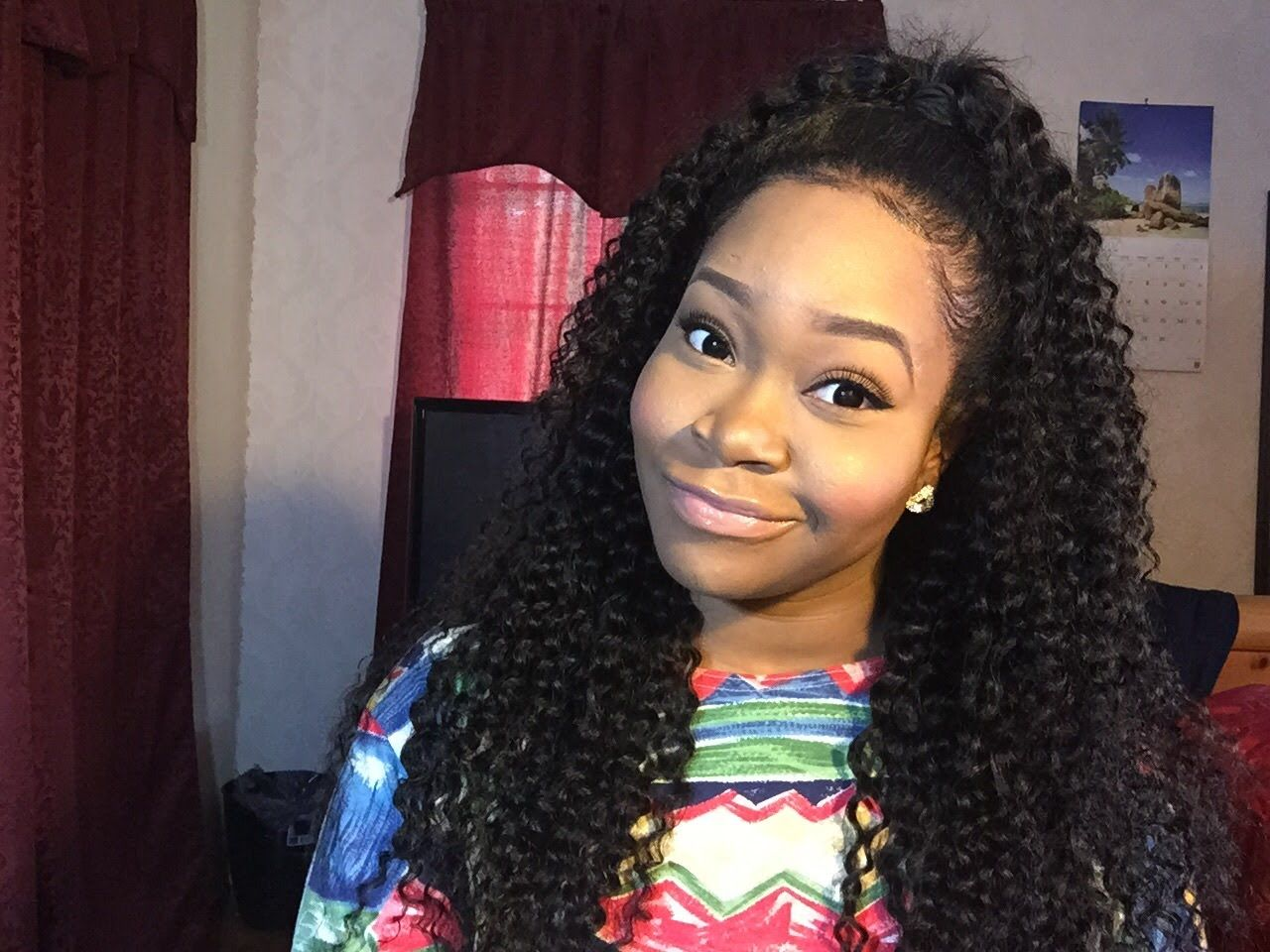 Half Up Half Down Quickweave Vip Beauty Hair 6a Brazilian Curly Hair Curly Weave Hairstyles Half Up Half Down Hair Half Up Hair