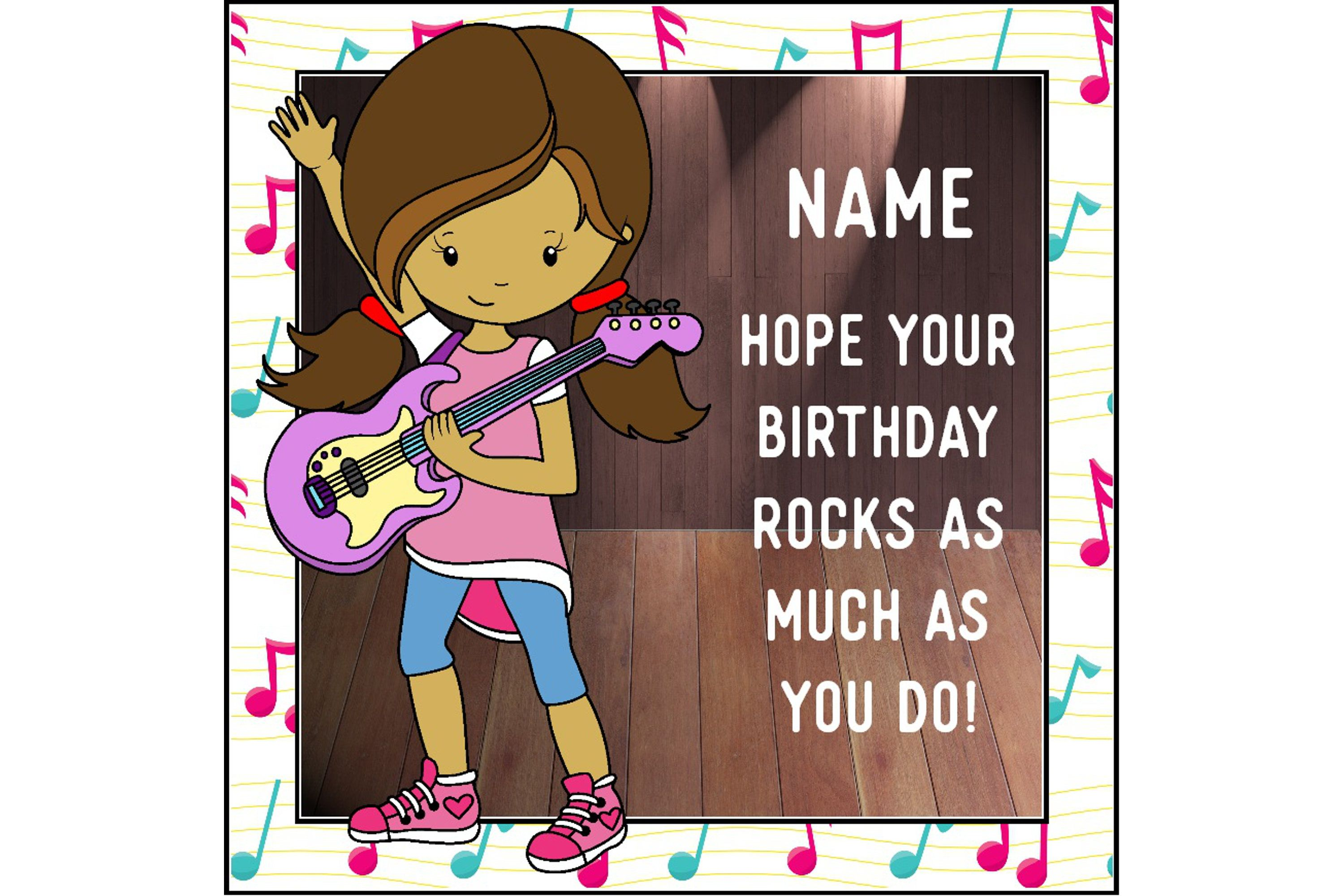Rock Girl Birthday Card Personalised Musical Guitar Instrument For You Greetings By ShellsCCC On