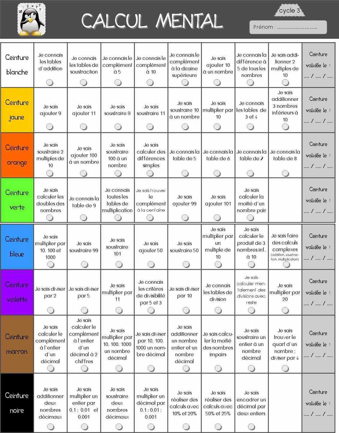 Ceintures calcul mental c3 laclasse2delphine grade 6 - Calcul mental table de multiplication ...