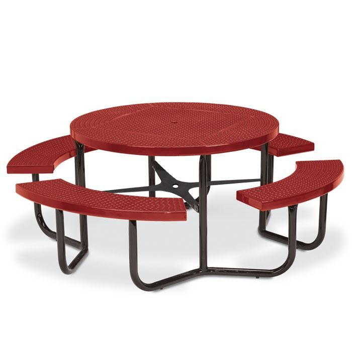 Round Perforated Steel Picnic Table With Traditional Edge And 4 Leg Po    Picnic Tables