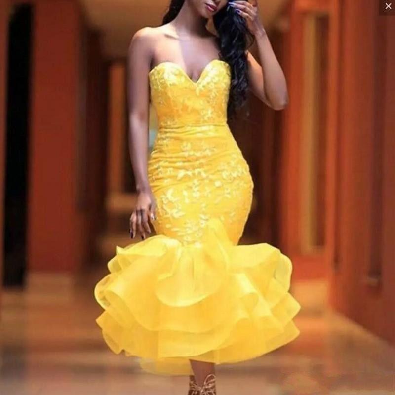 US $97.01 11% OFF Chic Evening Dress Yellow Vestid