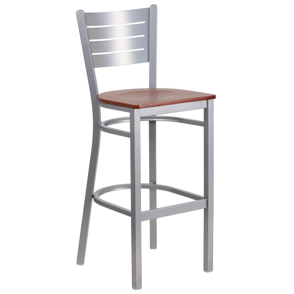 Cherry and silver bar stool red silver