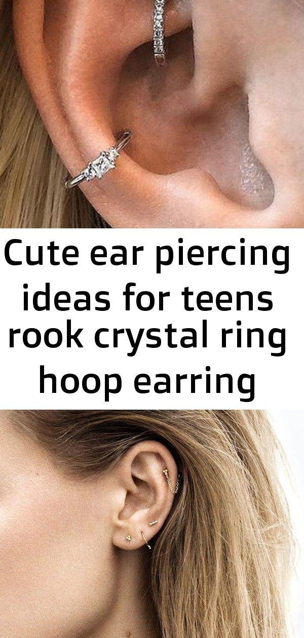 Cute ear piercing ideas for teens rook crystal ring hoop earring conch jewelry - www.mybodiart.com # #earpiercingideas