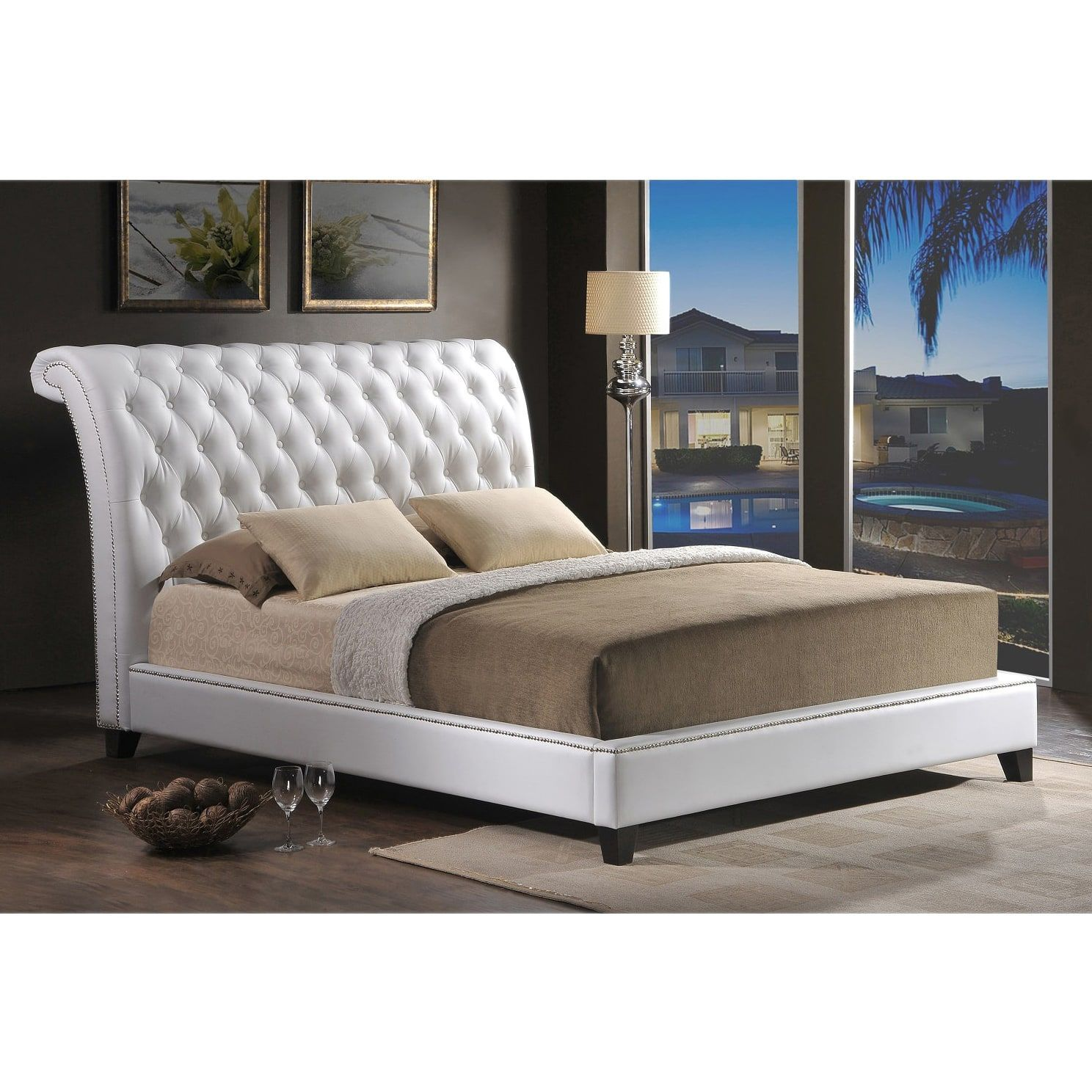Baxton Studio Jazmin Tufted Modern Bed with Upholstered Headboard ...