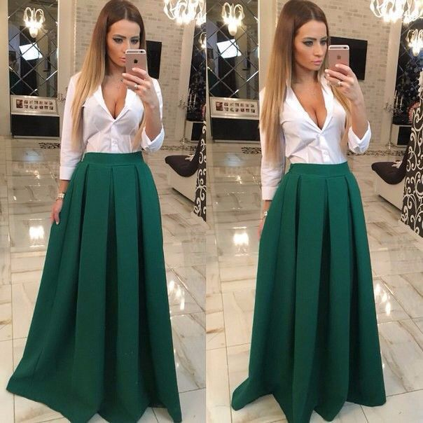 Full length Pleated Loose Pure Color Skirt