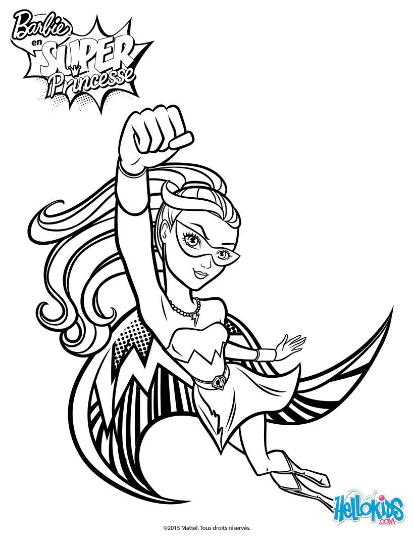 Barbie To The Rescue Coloring Page More Super Princess Content On Hellokids