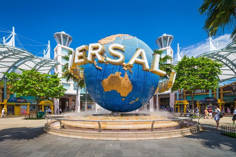 Universal Studios Singapore Is A Theme Park Located Within Resorts World Sentosa On Sentosa Island Singapore It Features 28 Rides Shows And A Pengeditan Foto