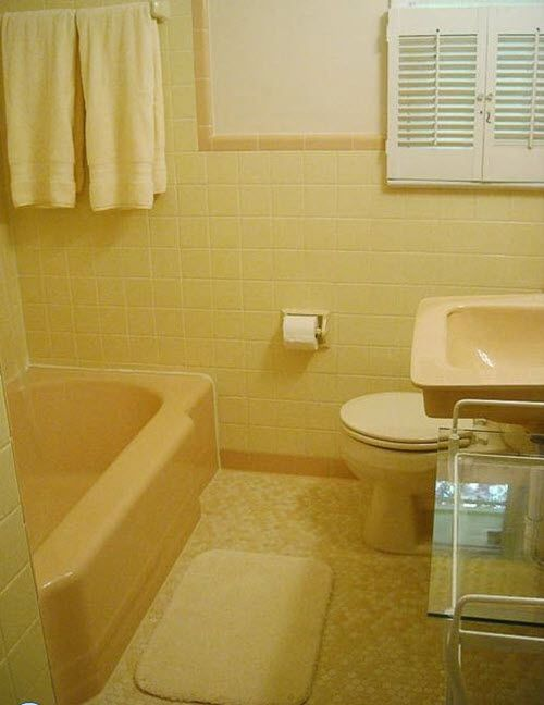 34 Retro Yellow Bathroom Tile Ideas And Pictures Yellow Bathroom Tiles Yellow Bathroom Decor Yellow Bathrooms