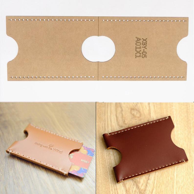 Diy Leather Craft Card Holder Storage Sewing Pattern Hard Kraft Paper Stencil Template 90x65x1mm In 2021 Diy Leather Projects Leather Diy Diy Leather Gifts