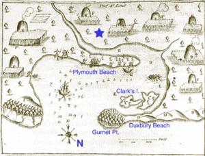 Samuel de Champlains 1605 map of Plymouth Harbor showing