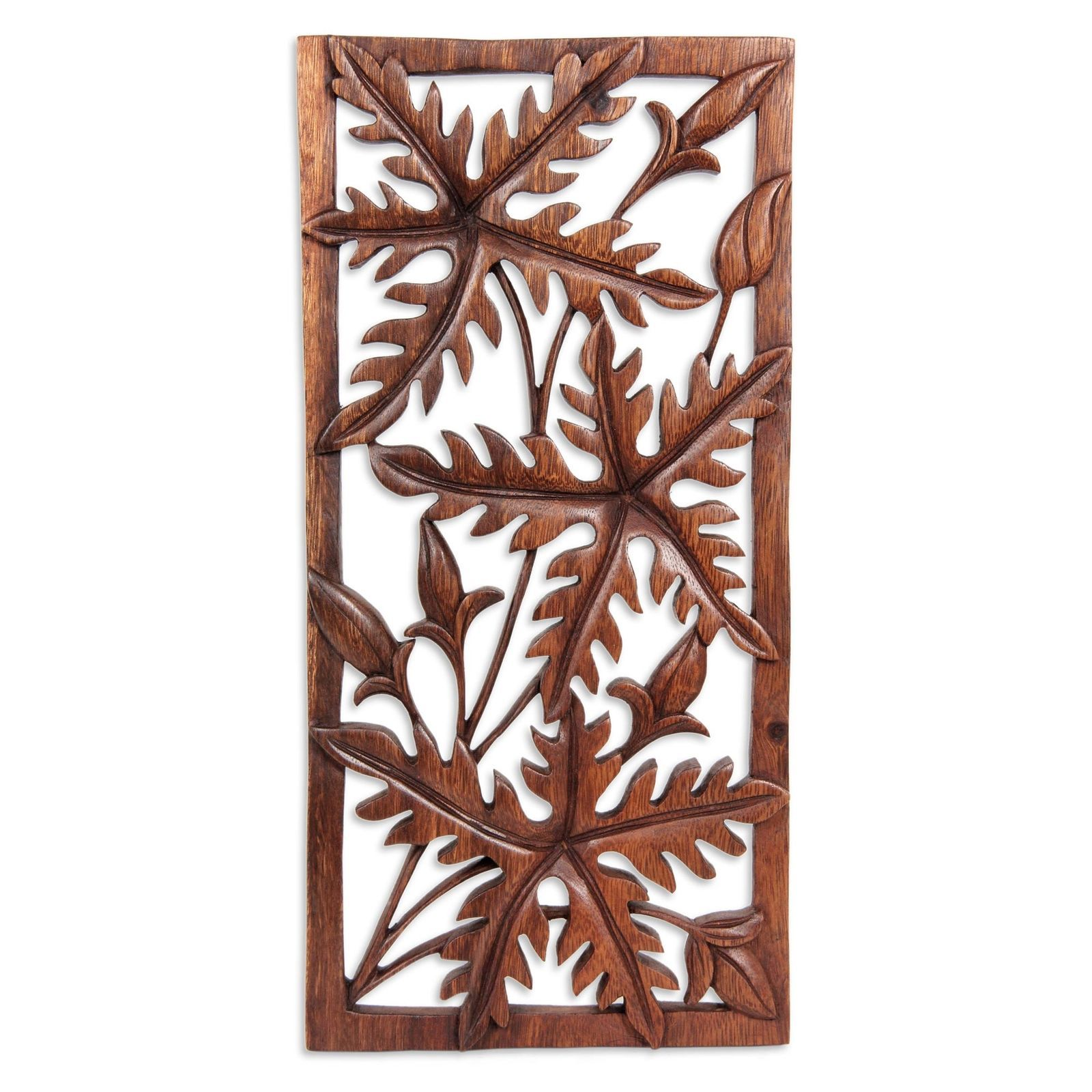 Wood relief panel hand carved wall sculpture uforest songu novica
