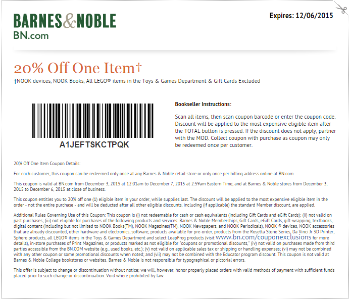 picture about Barnes and Noble Printable Coupon referred to as Barnes Noble Printable Coupon: Get hold of 20% off a person product or service