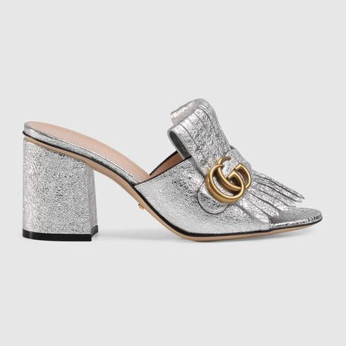 aed8a9763 GUCCI Metallic Leather Mid-Heel Slide. #gucci #shoes #women's slides & mules