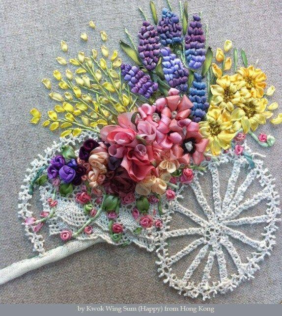 Silk Ribbon Embroidery Silk ribbon embroidery, Ribbon
