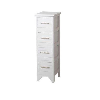 Wooden Bathroom Cabinets Uk estilo nautical white wooden bathroom unit - 4 drawer | wooden