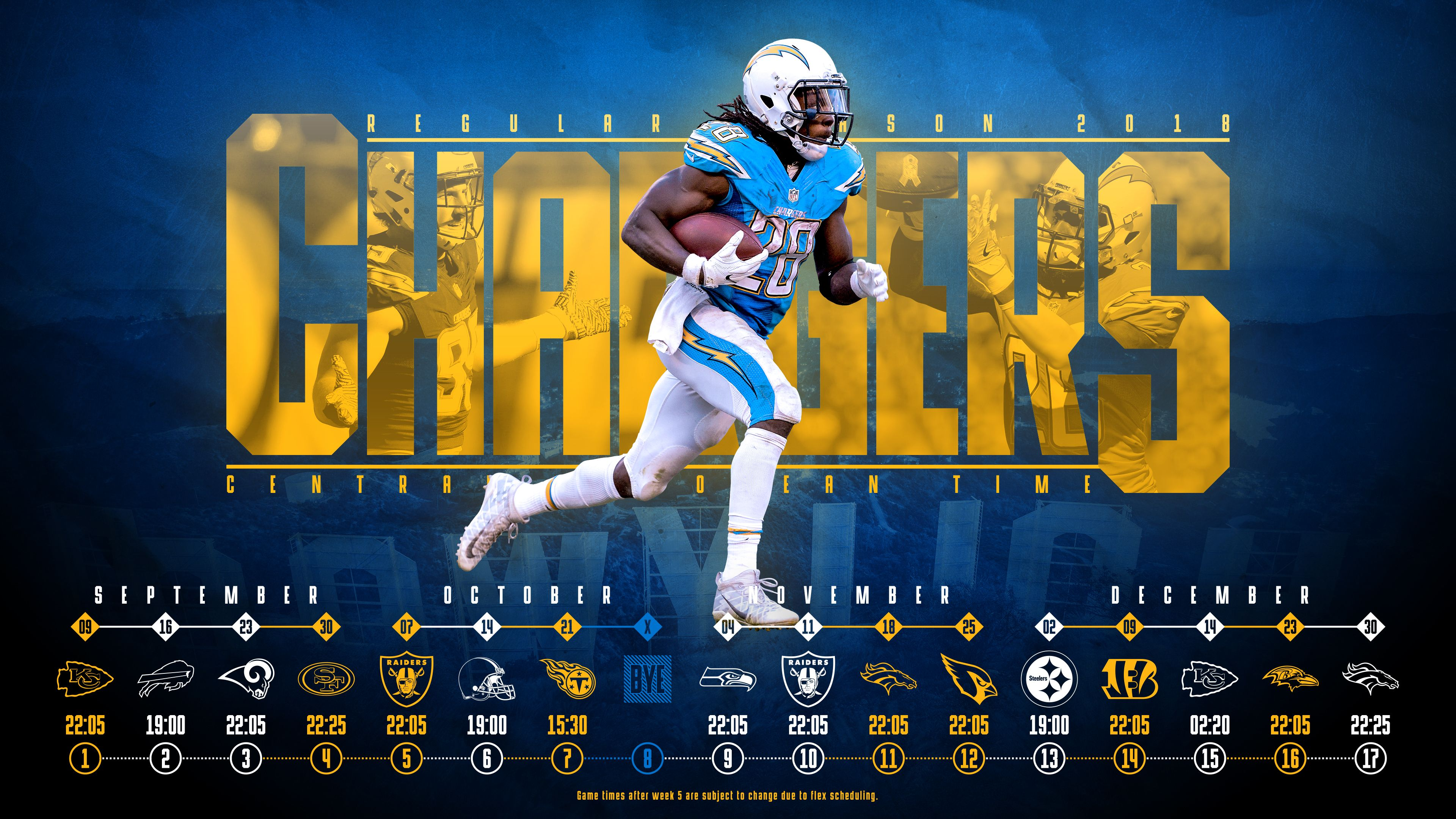 Schedule Wallpaper For The Los Angeles Chargers Regular Season 2018 Central European Time Made By Tobler Gergo Tge Los Angeles Chargers Chargers Los Angeles
