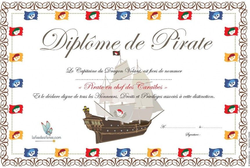 Printable Diplome Anniversaire Cheval Fetes D Anniversaire Pirates Anniversaire Pirate Anniversaire Cheval