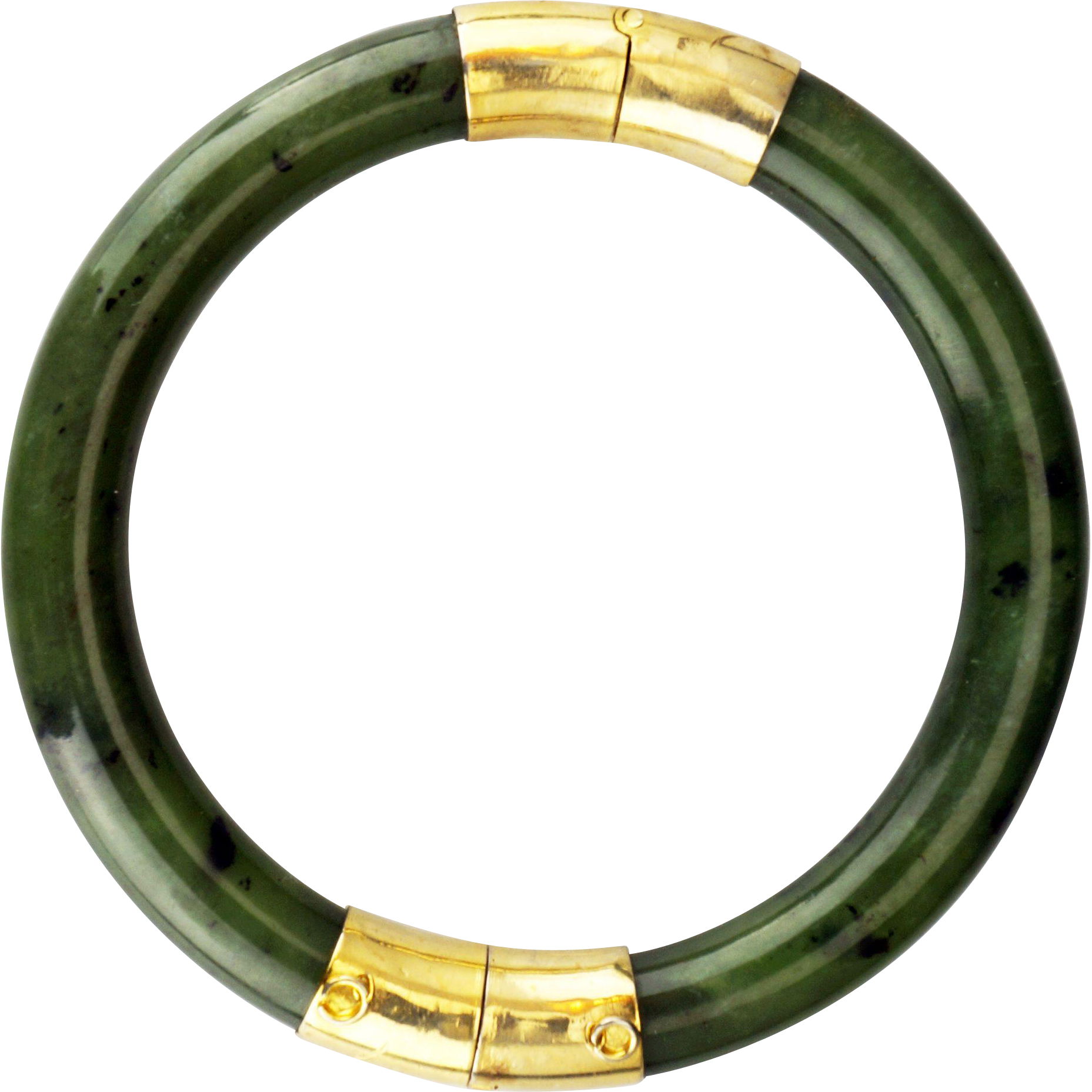 f3026bc9908 Vintage Chinese Nephrite jade bangle bracelet with goldtone hinge ...