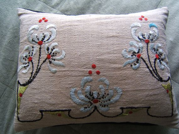Arts and Crafts Art Nouveau handmade embroidered era pillow with blue chrysanthemums velvet. $30.00, via Etsy.