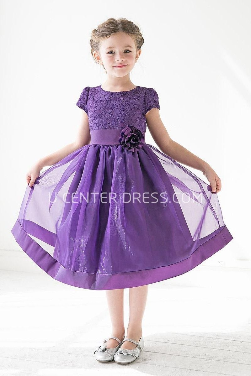Tea-Length Floral Tiered Lace&Organza Flower Girl Dress With Sash ...