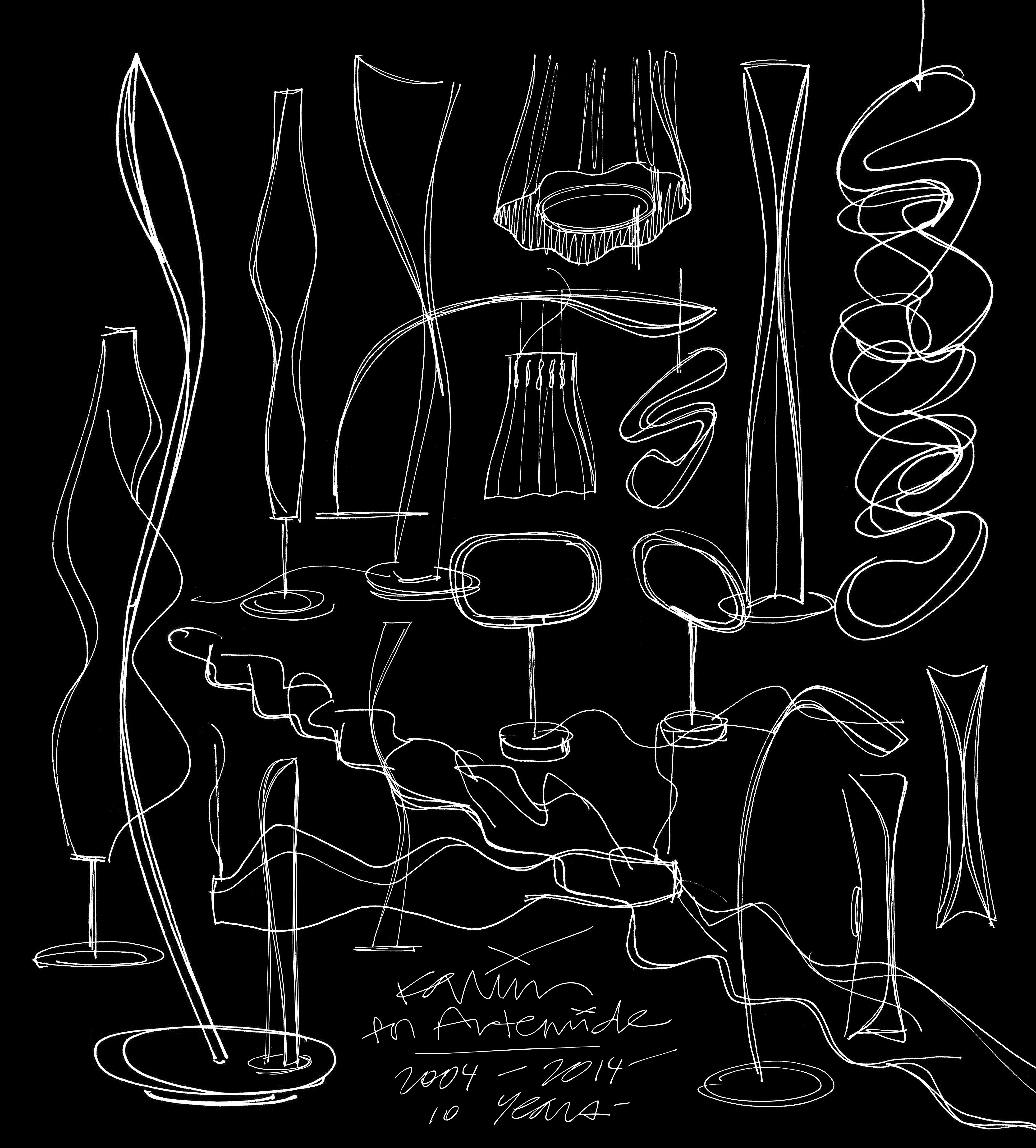 Artemide Stehle sketches of artemide light by karim rashid http on fb me 1uavu5x