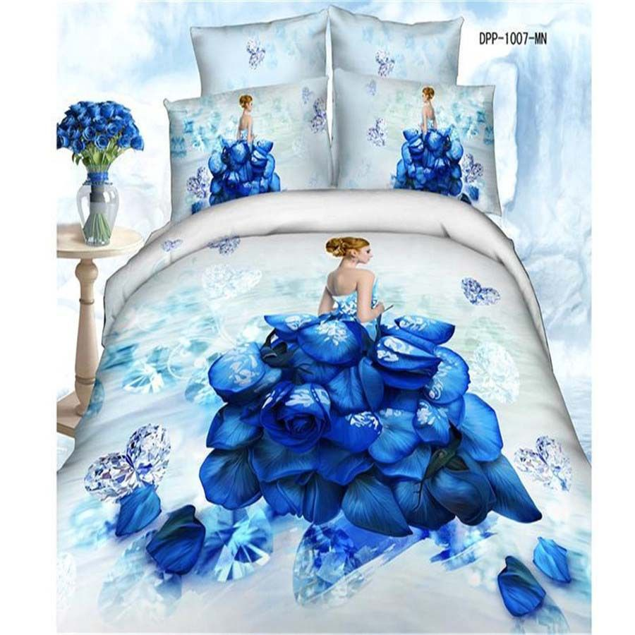 luxury cotton oil painted effect cover bedding set