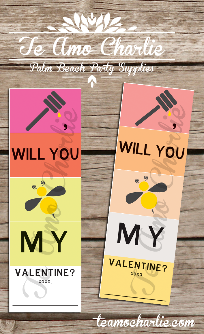 """Say I love you and Happy Valentine's Day with these cute """"Honey, Will you bee my Valentine"""" cards! #etsy #teamocharlie #bee #honey #card #printable #valentine #love #valentinecard #design #xoxo $1.50"""