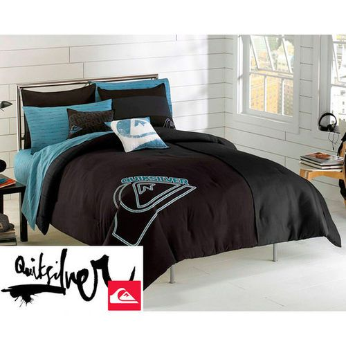 Quiksilver Stacked Complete Comforter Sheet Set Twin Xl New Dorm Black Teal Boys Home Full Comforter Sets Bed