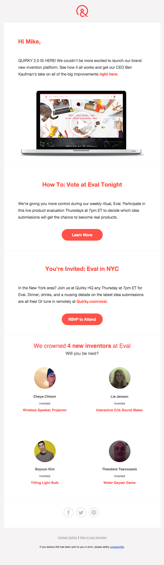 a whole new way product launch email newslettter pinterest