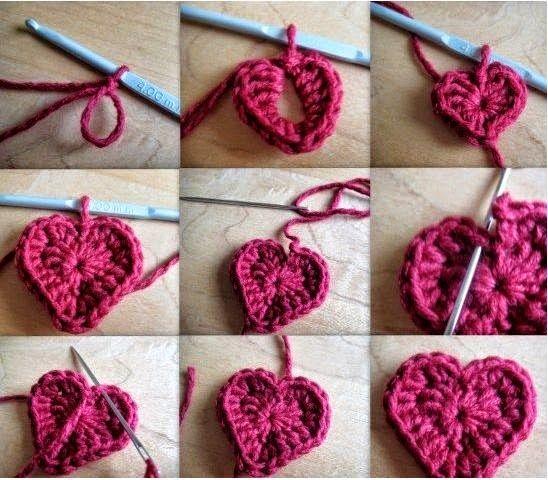 Cómo tejer corazones al crochet, paso a paso en fotos También puedes ...