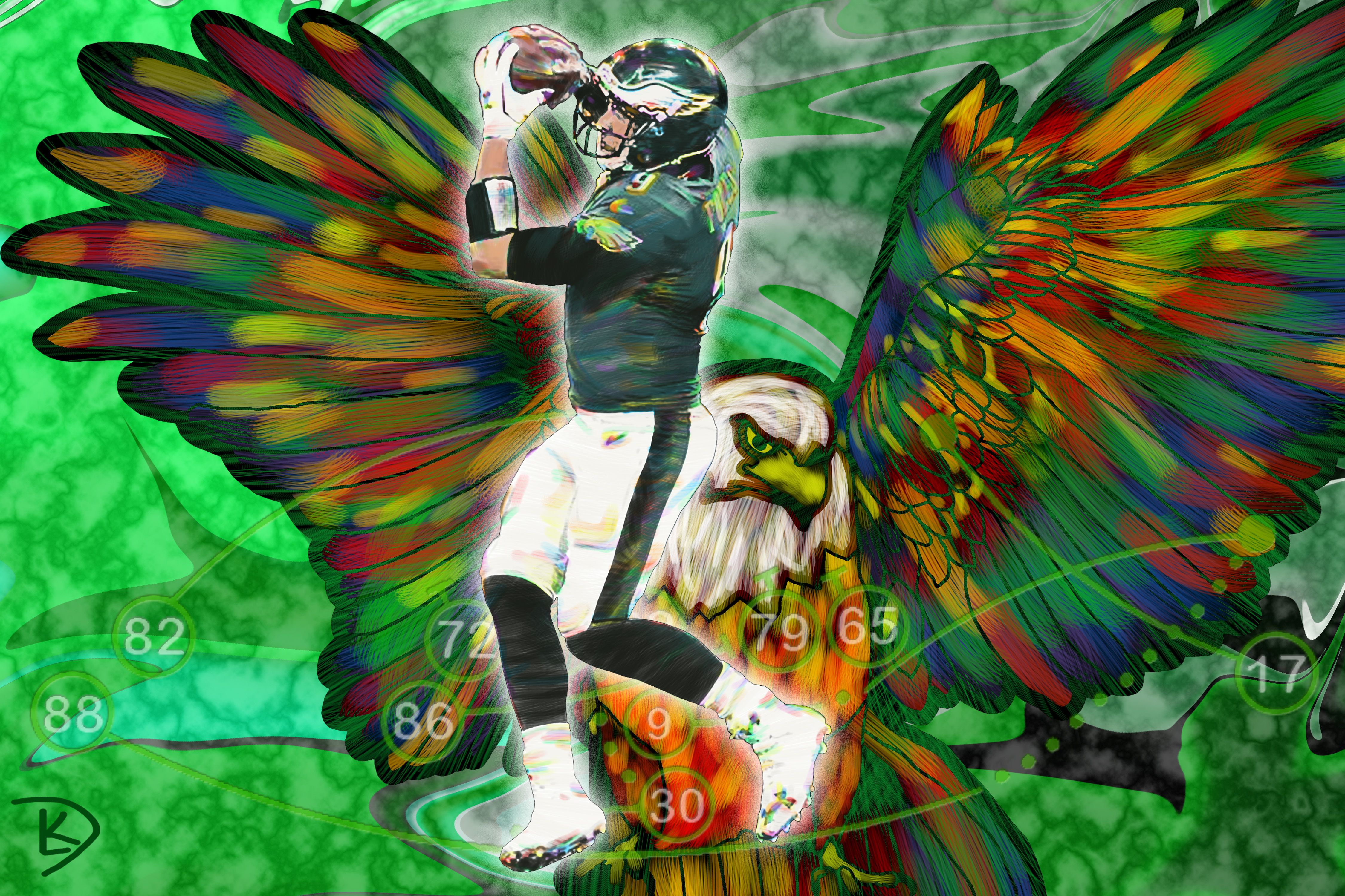 Nick Foles Philly Special Digital Painting Philadelphia Eagles Super Bowl Play Wall Art Canvas 24 X36 Canvas Art Painting Art