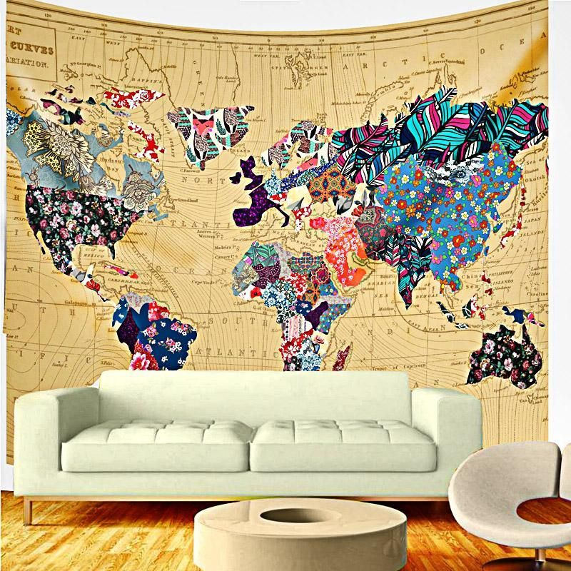 Patchwork World Map Boho Fabric Wall Tapestry | Tapestry | Pinterest ...